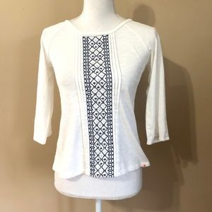 Lucky Brand | White Embroided Blouse  XL (Juniors)